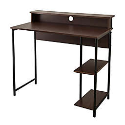 Home Office Desk with Shelves in Brown