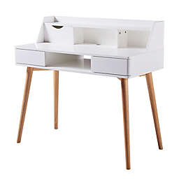 Stylish Wood Desk in White/Natural
