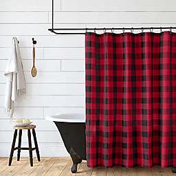 Erlene 72-Inch x 72-Inch Farmhouse Living Shower Curtain in Red/Black