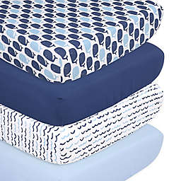 The Peanutshell™ 4-Pack Nautical Microfiber Fitted Crib Sheets