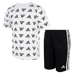 adidas® Boys Size 9M Tee & Short Set in Black/White