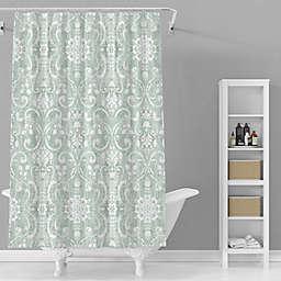 Avanti 72-Inch x 72-Inch Madison Shower Curtain in White/Green