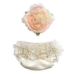 Toby Fairy™ Newborn 2-Piece Blooming Flower Diaper Cover and Headband Set in White