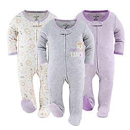 The Peanutshell™ 3-Pack Lavender Fox Long Sleeve Sleepers