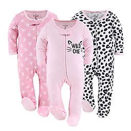 The Peanutshell™ 3-Pack Cheetah Hearts Footed Pajamas in Black/White/Pink