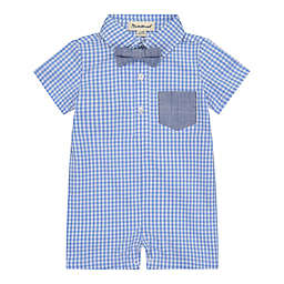 Beetle & Thread® Size 6-9M Gingham Stripe Shortall in Blue