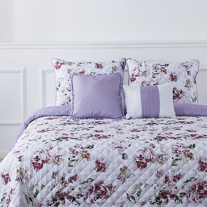 Alternate image 1 for Bloom by Sara Berrenson Deconstructed Rose 5-Piece Reversible Quilt Set in Lilac