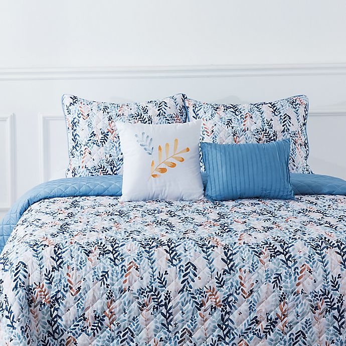 Alternate image 1 for Bloom by Sara Berrenson Willow 5-Piece Reversible Quilt Set in Blue