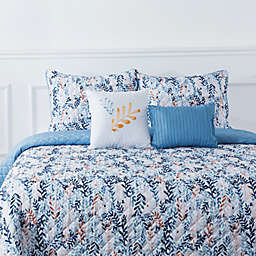 Bloom by Sara Berrenson Willow 5-Piece Reversible King Quilt Set in Blue
