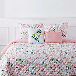 Bloom by Sara Berrenson Camellia 5-Piece Reversible King Quilt Set in Coral