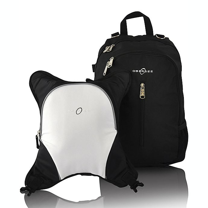 Alternate image 1 for Obersee Rio Diaper Bag Backpack with Detachable Cooler in Black/White