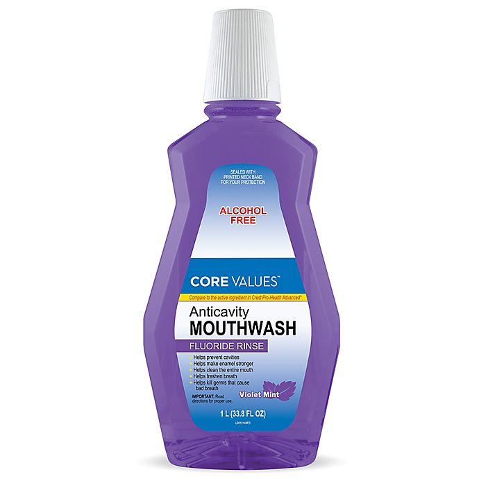 Alternate image 1 for Harmon® Core Values™ 33.8 oz. Anticavity Mouthwash Fluoride Rinse in Violet Mint