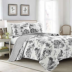Lush Decor® French Country Toile 3-Piece Full/Queen Reversible Quilt Set in White/Charcoal