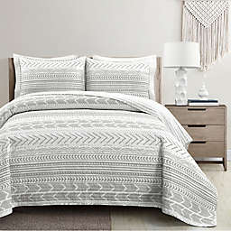 Lush Décor® Hygge Geo 3-Piece Reversible King Quilt Set in Grey/White