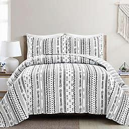 Lush Décor® Hygge Stripe 3-Piece Reversible Full/Queen Quilt Set in Black/White