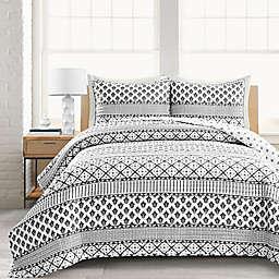 Lush Décor Monique Stripe Full/Queen 3-Piece Reversible Quilt Set in Black/White