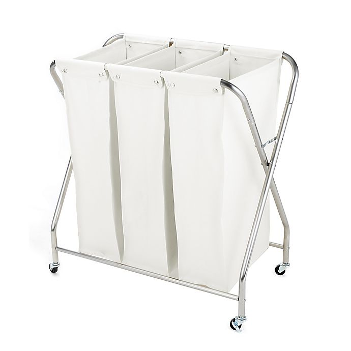 Alternate image 1 for Squared Away 3-Compartment Rolling Laundry Sorter with 3 Removable Bags