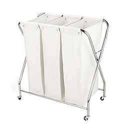 Squared Away 3-Compartment Rolling Laundry Sorter with 3 Removable Bags