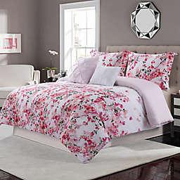 Villa Rose 5-Piece Reversible Queen Comforter Set in Rose