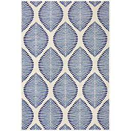 "W Home Leaves 5'3"" x 7'7"" Indoor/Outdoor Area Rug in Navy/Blue"