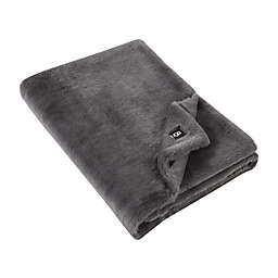 UGG® Solid Polar Faux Fur Throw in Charcoal