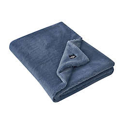 UGG® Solid Polar Faux Fur Throw in Tahoe Blue