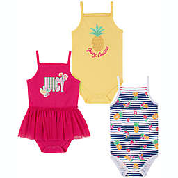 Juicy Couture® 3-Pack Pineapple Sleeveless Bodysuits in Pink