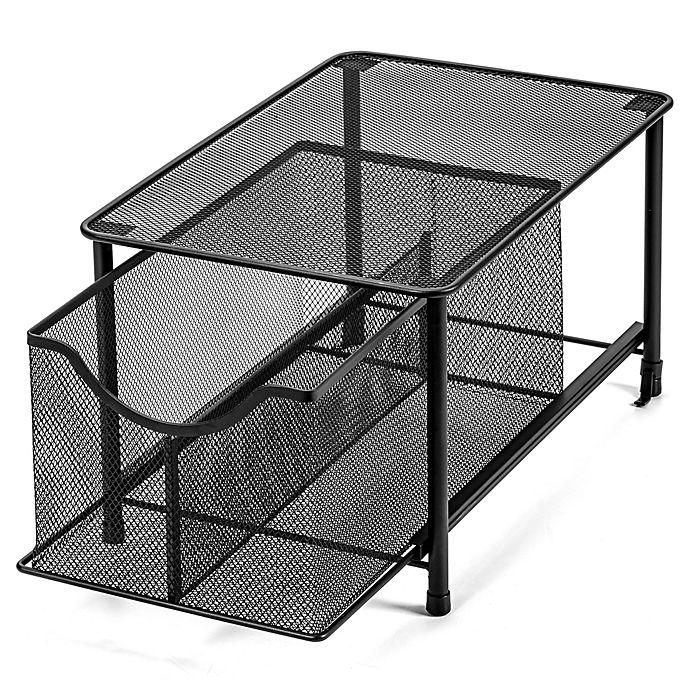Alternate image 1 for Squared Away™ Large Metal Mesh Cabinet Drawer in Black