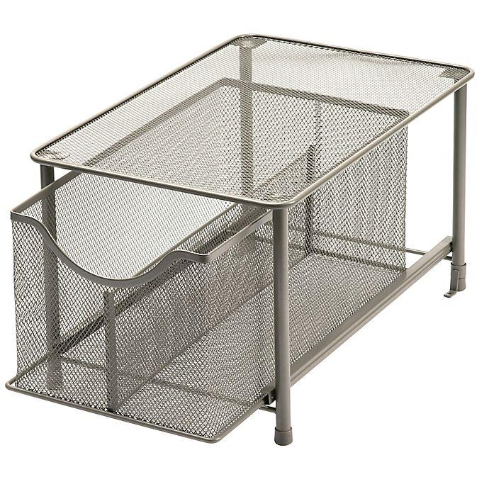 Alternate image 1 for Squared Away™ Large Metal Mesh Cabinet Drawer in Matte Nickel