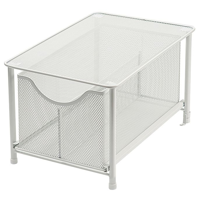 Alternate image 1 for Squared Away™ Large Metal Mesh Cabinet Drawer in White