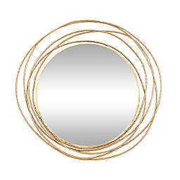 Ridge Road Décor Contemporary 40-Inch x 38.4-Inch Wooden Wall Mirror in Gold