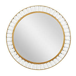 Ridge Road Decor Wood Contemporary 32-Inch Round Wall Mirror in Brown