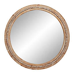 Ridge Road Decor Natural 36-Inch Round Wooden Wall Mirror with Decorative Beads in Light Brown