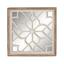 Ridge Road Décor Vintage 30-Inch Square Wooden Wall Mirror in White