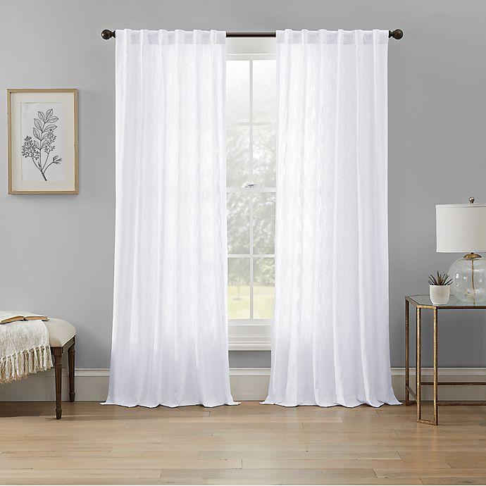 Alternate image 1 for Wamsutta® Rava Light Filtering Rod Pocket Back Tab Window Curtain Panel in White (Single)