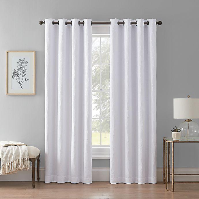 Alternate image 1 for Wamsutta® Aida Grommet 100% Blackout Window Curtain Panel in White (Single)