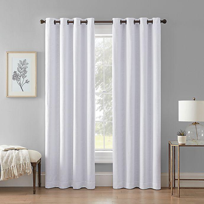 Alternate image 1 for Wamsutta® Priella Grommet 100% Blackout Lined Window Curtain Panel in White (Single)