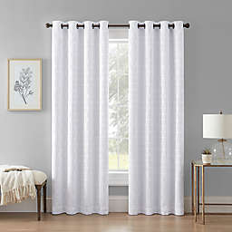 Wamsutta® Textured Geometric 108-Inch Grommet 100% Blackout Window Curtain Panel in White