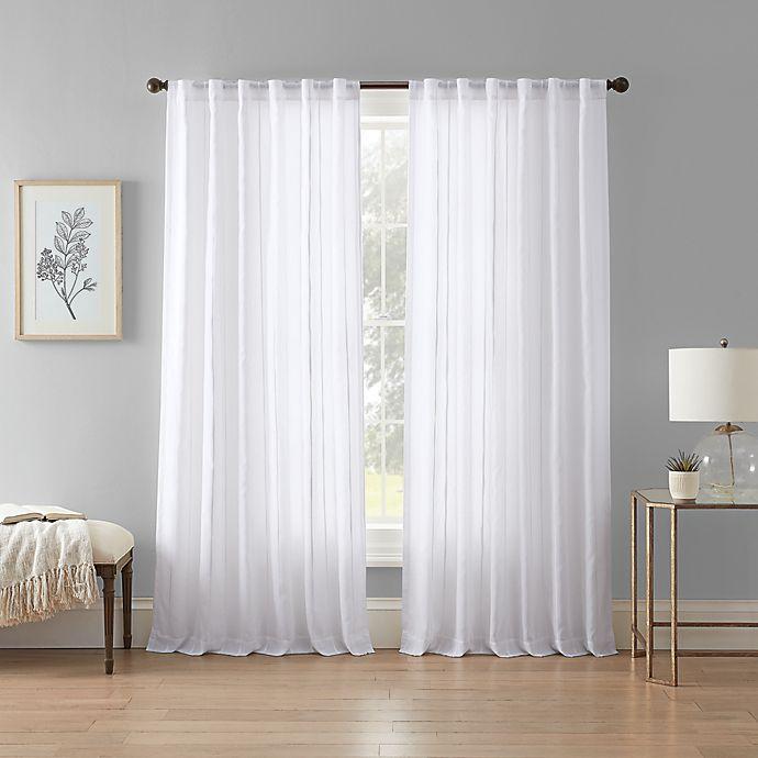 Alternate image 1 for Wamsutta® Vertical Stripe Rod Pocket Light Filtering Lined Window Curtain Panel (Single)