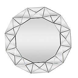 Ridge Road Decor Glam 39.5-Inch Round Wall Mirror in Black