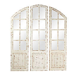 Ridge Road Décor Vintage 16-inch x 60-Inch Arched Wooden Wall Mirrors in White (Set of 3)