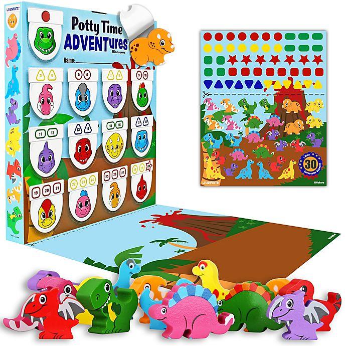 Alternate image 1 for Lil ADVENTS Potty Time ADVENTures Potty Training Reward Chart & Wood Blocks Dinosaurs