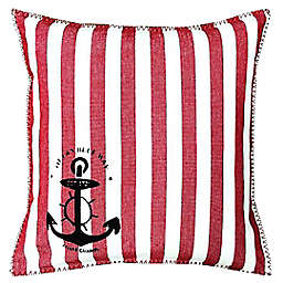 Mod Lifestyles Stripe and Anchor Square Throw Pillow