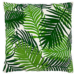 Mod Lifestyles Palm Leaves Square Throw Pillow in Green