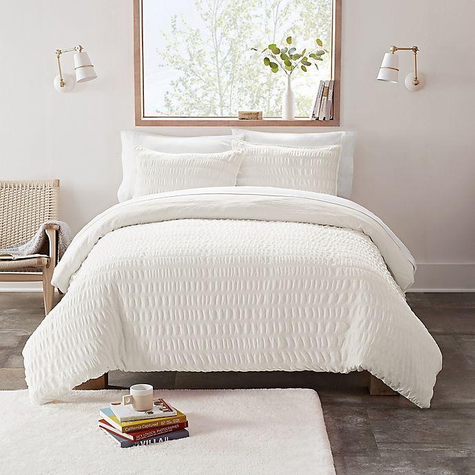 Alternate image 1 for UGG® Devon Textured 3-Piece Reversible Full/Queen Comforter Set in Snow Stripe