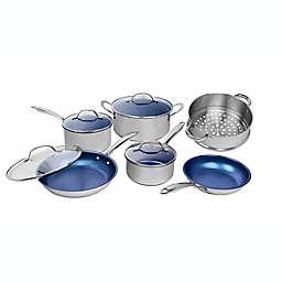 Granitestone Diamond Nonstick Aluminum 10-Piece Cookware Set in Stainless Steel/Blue