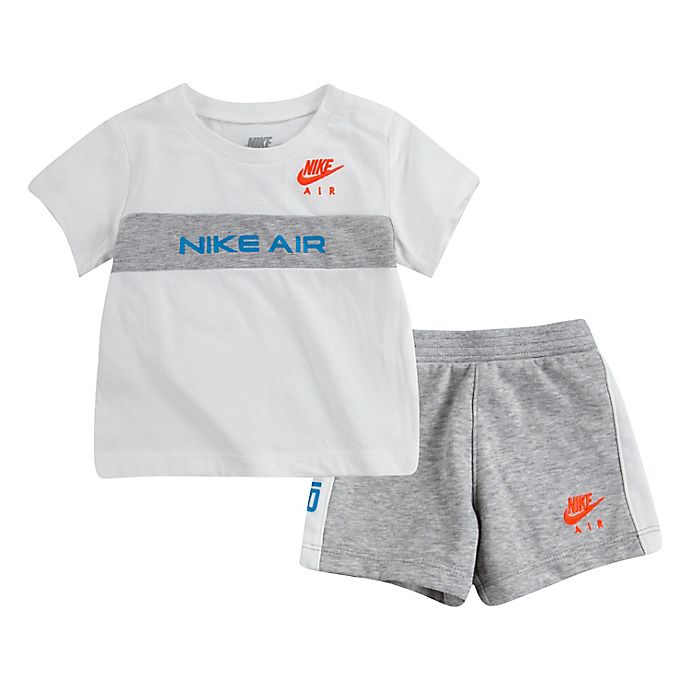 Alternate image 1 for Nike® 2-Piece Air Shirt and Short Set in White/Grey