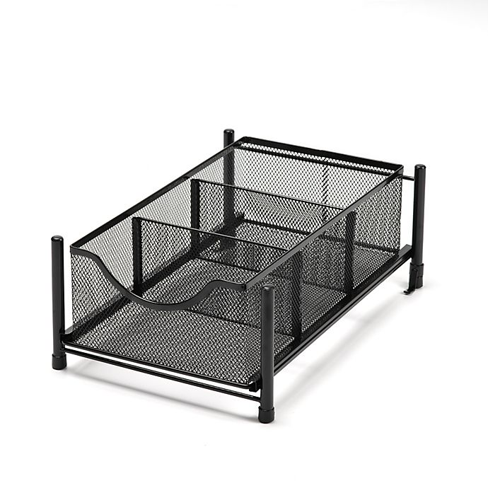 Alternate image 1 for Squared Away™ Small Metal Mesh Cabinet Drawer in Black