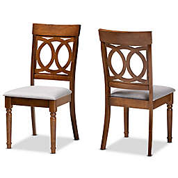 Baxton Studio Roch Upholstered Dining Side Chairs in Walnut/Grey (Set of 2)