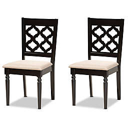 Baxton Studio Dale Upholstered Dining Side Chairs in Dark Brown/Sand (Set of 2)